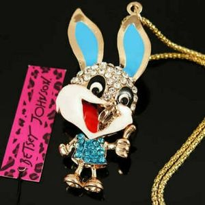 Betsey Johnson Blue Bunny Necklace